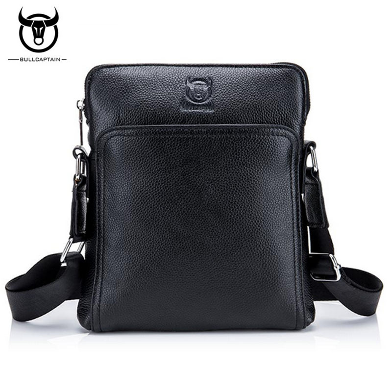 BULLCAPTAIN100% Genuine Leather High Quality Crossbody Bags Men fashion Casual Business Male Cowhide Messenger Shoulder Bags недорго, оригинальная цена
