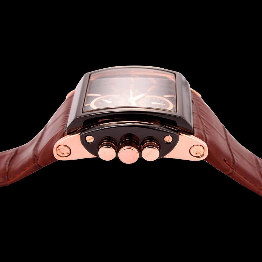 BOAMIGO męskie zegarki kwarcowe duża tarcza moda casual zegarki sportowe różowe złoto sub tarcze zegar brązowe skórzane męskie zegarki na rękę
