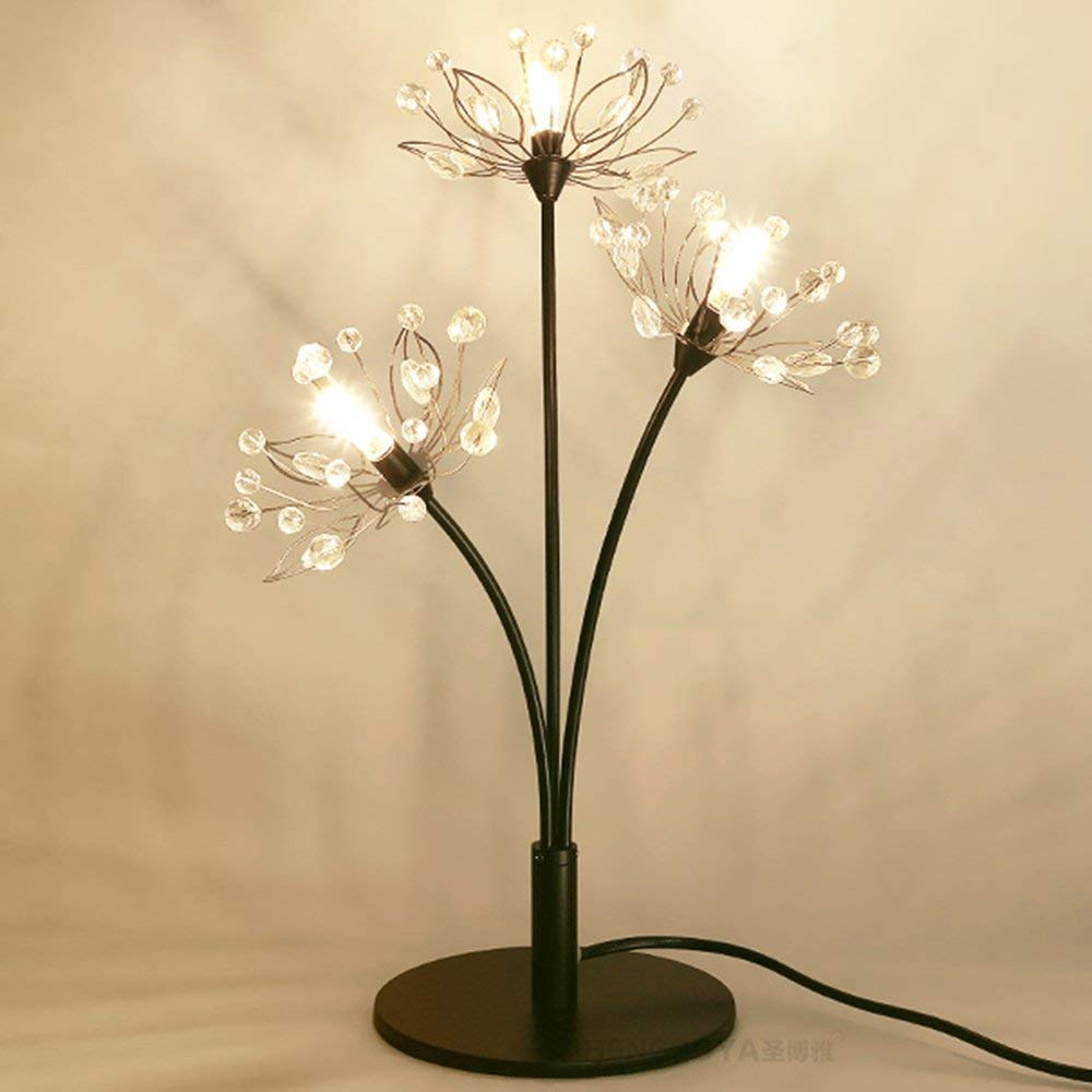 Adaptable Crystal Led Bedside Table Lamp Creative Metal Night Light Branch Flower Desk Lamp For Living Room Children's Bedroom Decor Always Buy Good