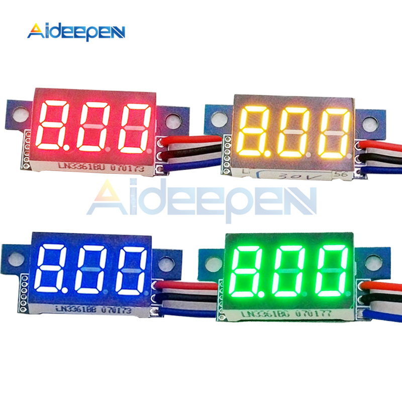 Mini <font><b>0</b></font>.36 inch <font><b>DC</b></font> <font><b>0</b></font>-<font><b>30V</b></font> Digital Voltmeter 3 Wires LED Display Voltage Meter Gauge Voltage Panel Meter Test Red/Green/Blue/Yellow image