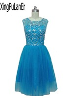 robe de soiree Sky Blue Beaded Rhinestones Sparkle Short Prom Evening Gowns Tulle Skirt Scoop Mini Backless Homecoming Dresses