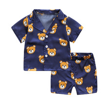 цена на Summer Baby Boys 2-Piece Clothing Sets Cotton Short-Sleeved Cartoon Print Shirt + Shorts Kids Sets For 2-7 Years Old