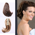 DIFEI 6'' Short Straight Ponytail Natural Hair Synthetic Gripper Ponytails Heat Resistant Hair Extension