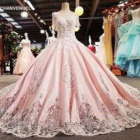 LS00361 роскошные блестки кружева 3D цветы розовые o шеи с коротким рукавом зашнуровать спинки вечернее платье 2018 реальных фотографий