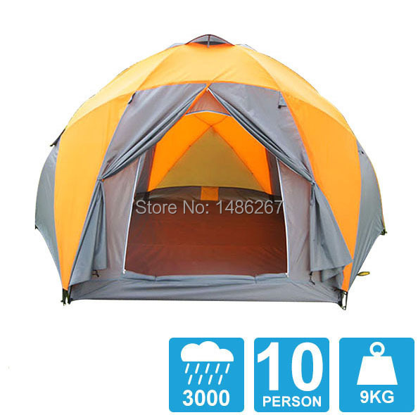 8-10 person high quality Windproof waterproof outdoors 3000mm hex tent Durable family camping gear party marquee tent8-10 person high quality Windproof waterproof outdoors 3000mm hex tent Durable family camping gear party marquee tent
