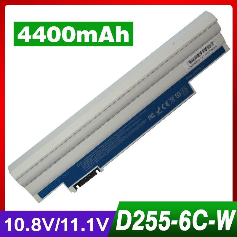 Branco 4400mAh bateria do portátil para Acer Aspire One 360 522 722 D270 E100 AOD255 AOD257 AOD260 D255 D257 Cromia AC761 Chromebook