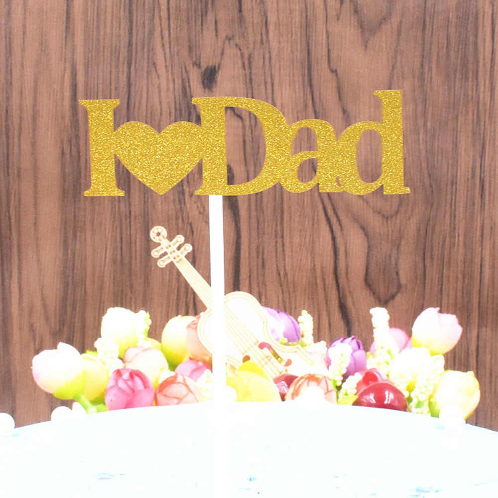 Pastel Topper para decoraciones de fiesta de cumpleaños de me encanta papá Mamá me encanta Carta forma parte superior bandera decorar para suministros de la boda