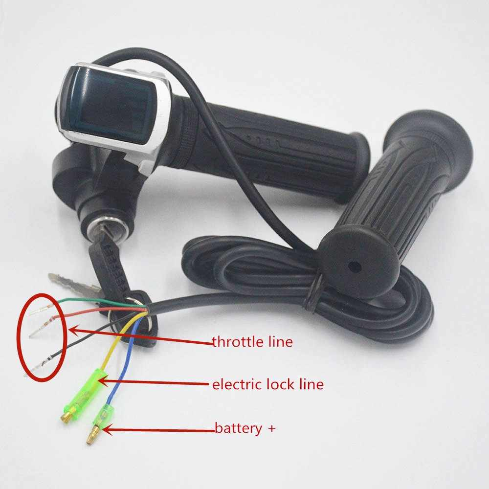 24V 36V 48V ebike twist throttle with LCD battery display and key lock for e-bike electric scooter accelerator