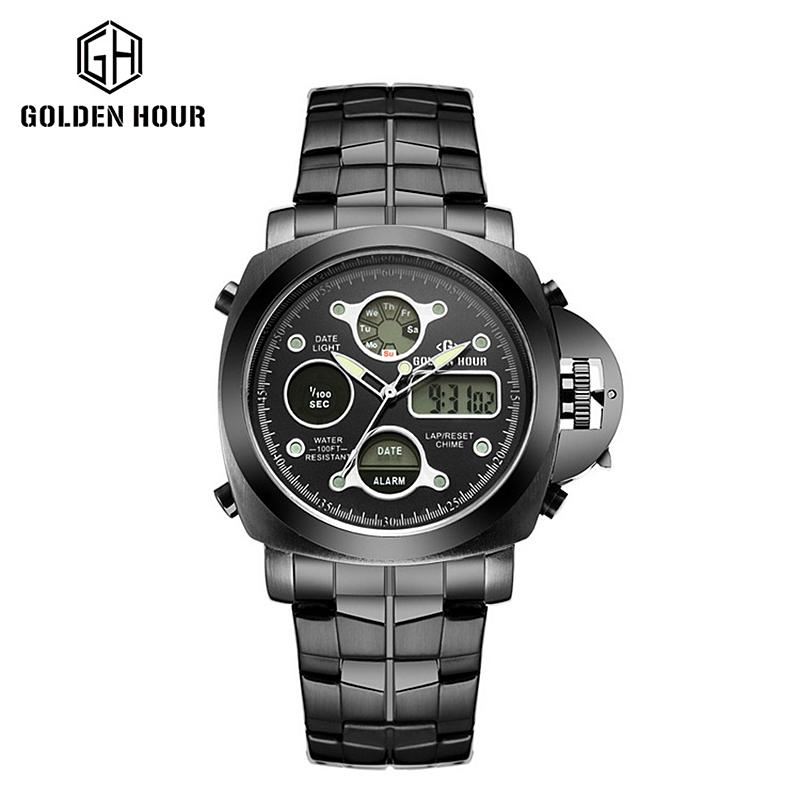Top Luxury Brand Analog Digital Watches Men Led Full Steel Male Clock Military Wristwatch Quartz Sports Watch Relogio Masculino luxury brand men military sports watches for men s quartz led digital hour clock male full steel wrist watch relogio masculino