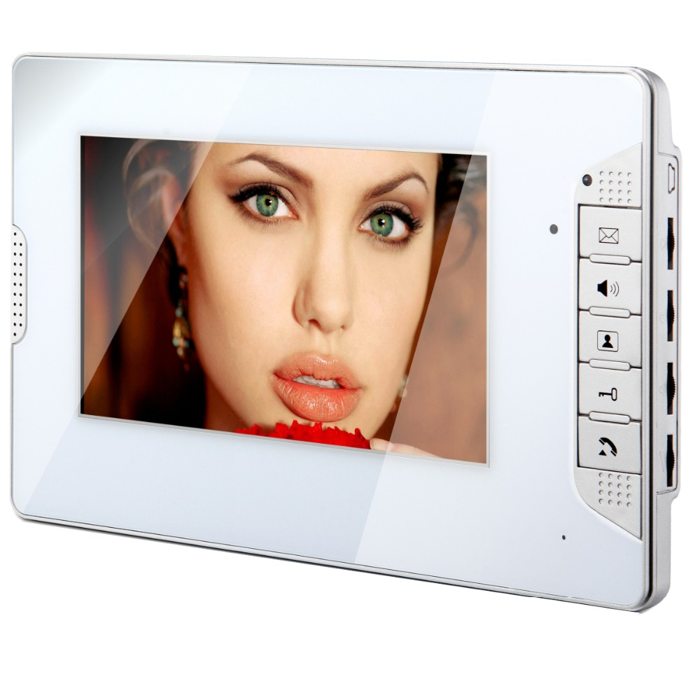 FREE SHIPPING BRAND NEW 4-pin 4 wire Wired 7 TFT LCD Color Screen Video Door Phone Intercom Indoor Monitor White Panel in stock