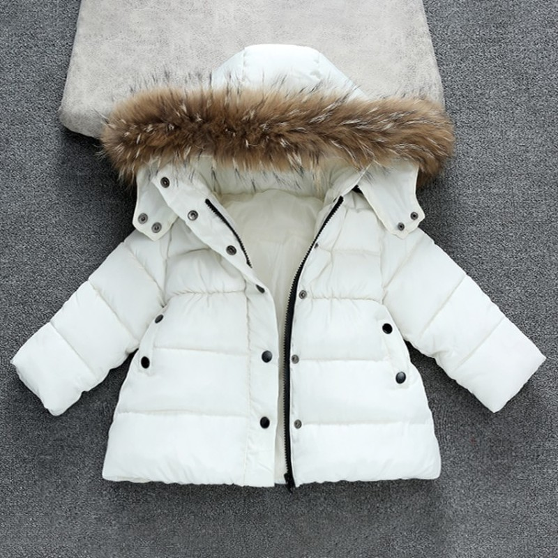 2018 New Winter Infant Baby Girls Down Parkas Solid Hooded Thicken Coats Outerwear Tops Cotton Children Clothes Costume 4dp033