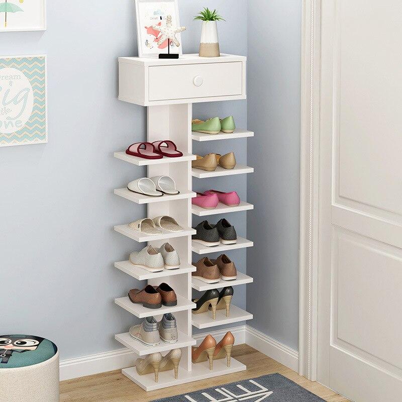 Double porte-chaussures scarpiera organisateur meubles de maison en bois estanteria para zapatos pour salon armoire à chaussures avec tiroir - 3