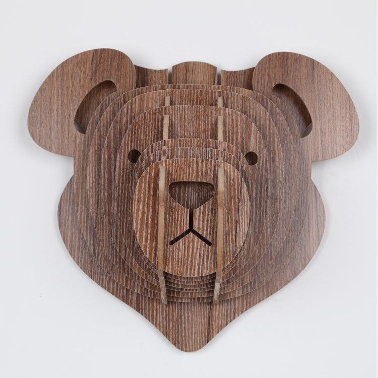 Aliexpress Com Buy 3d Wooden Home Decorations Nordic European Wall Animals Teddy Bear Head Hanging Lovely