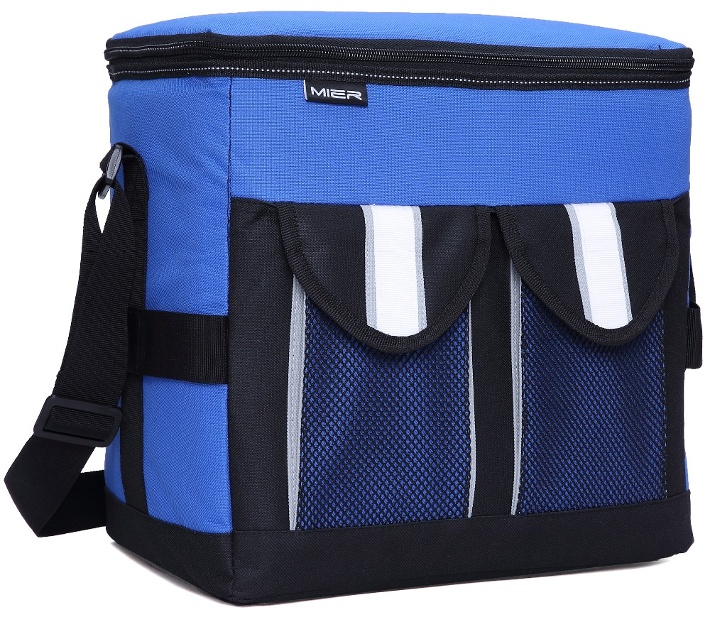 MIER 30Cans Collapsible Soft Cooler Bag Insulated Picnic Lunch Bag for Adult, Men, Women, Leakproof Liner, Blue, Large