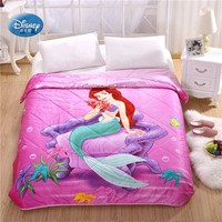 Disney Ariel Mermaid Pink Throws Blanket Single Twin Full Queen Size Thin Comforter Summer Qulit Bed Cover for Girls Gift