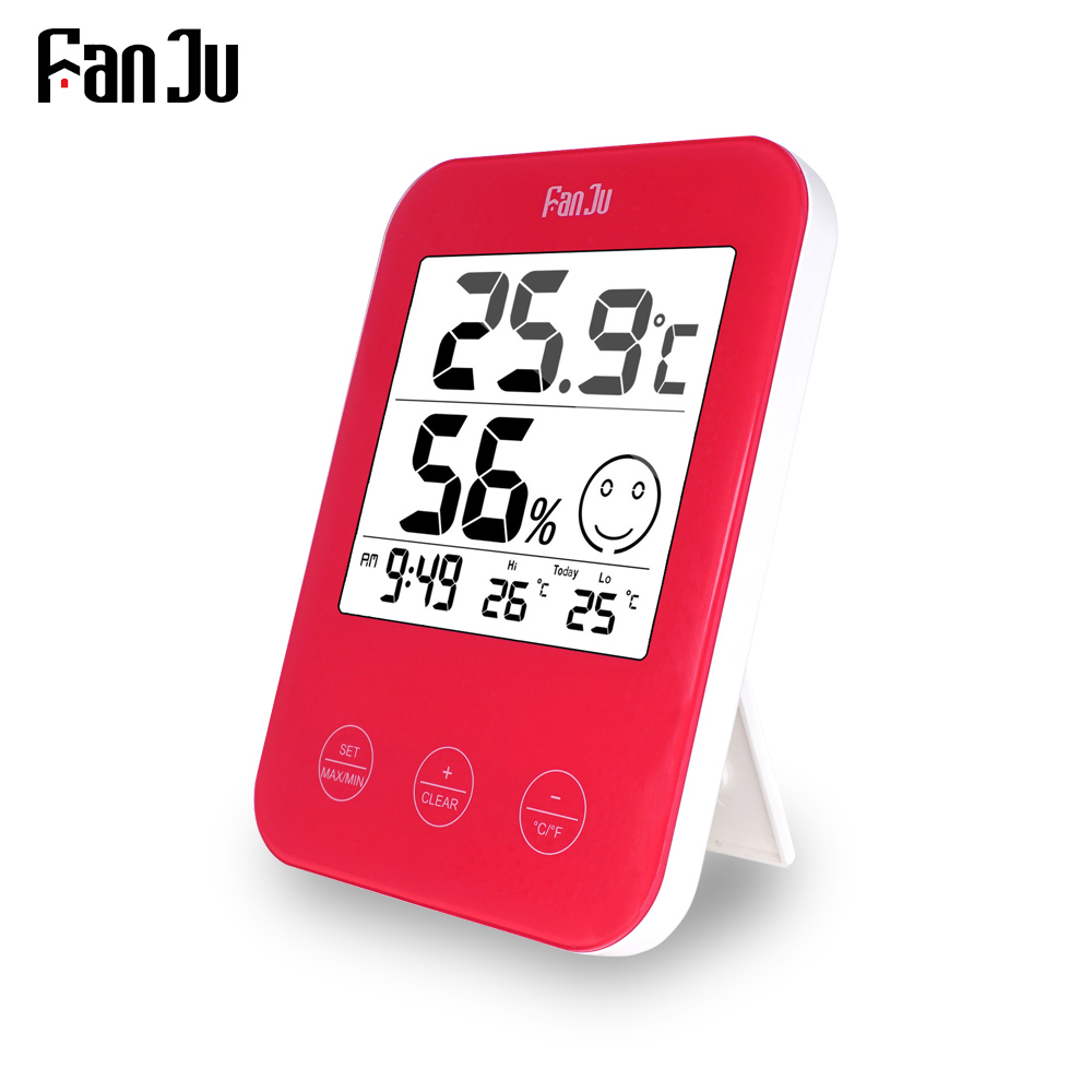 FanJu FJ718H Digital clock LCD Thermometer Hygrometer Weather Station Tester Temperature Wall Table Desktop Home Decor Clock