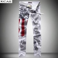 2016 Men Slim Jeans American USA Flag Printed Design Jeans Graffiti Print Casual Denim Trousers Plus