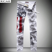 2017 Mannen Slanke Jeans Amerikaanse USA Vlag Gedrukt Ontwerp Jeans Graffiti Print Casual Denim Broek Maat 28-36 Hoge kwaliteit