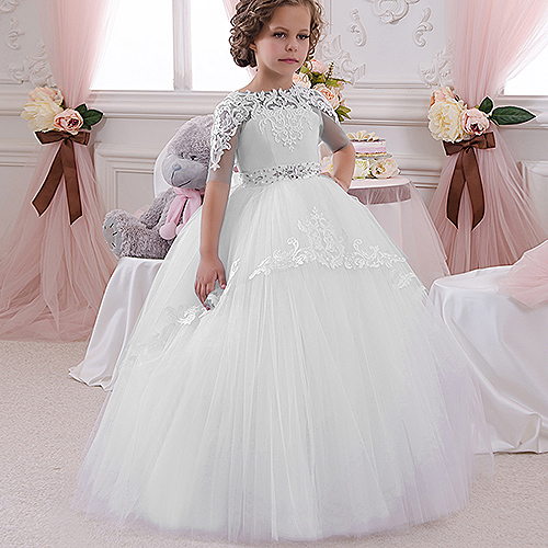 Champaña elegante vestido de la muchacha de la flor con la cinta Beige arco Crew Neck vestidos de la bola de malla niños vestidos de comunión para la Navidad 2 14 - 6