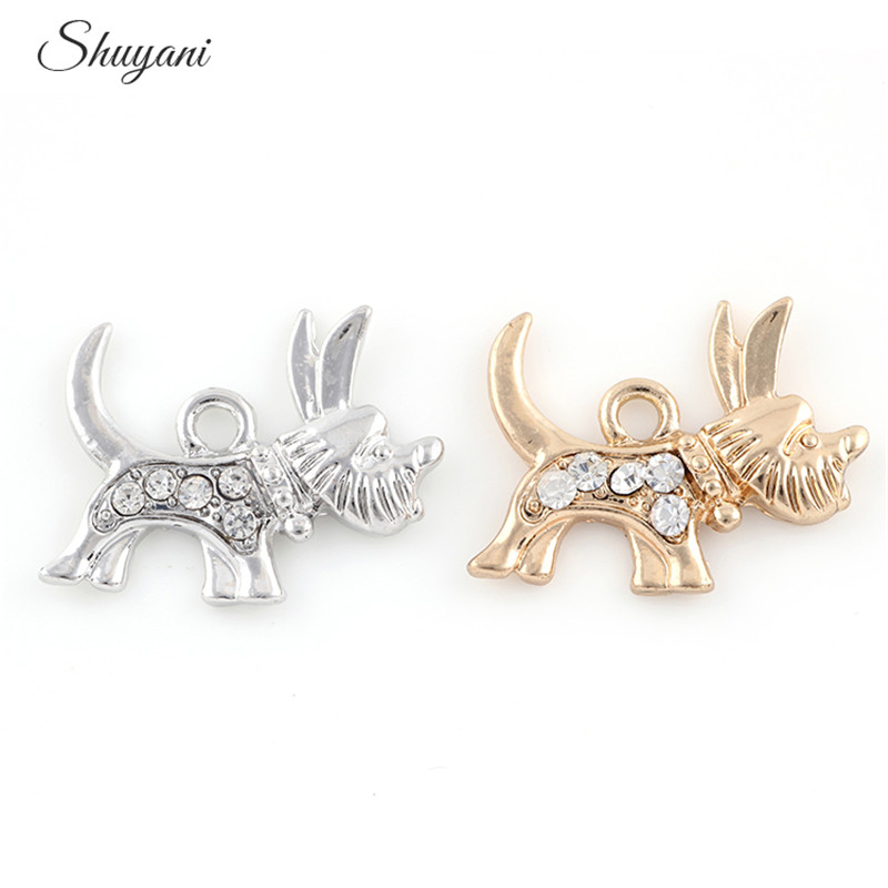 20Pcs Cute Rhinestone Dog Shape Women Necklace Pendant Gold Color Charms  For Handmade Jewelry 15f839a9b898