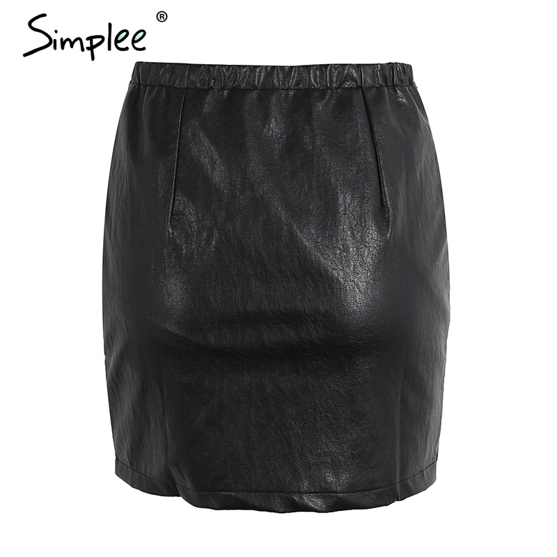 Online Shop Simplee Vintage high waist zipper leather skirt Punk ...