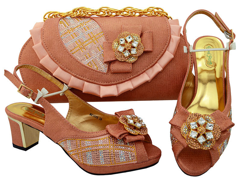 New Peach Color Italian Shoes Combining With Sales Bags In Women Matching Shoes And Defining Bag Ladies Shoes High heel MM1049 aidocrystal luxury handmade crystal sunflower high heel women italian shoes with matching bags