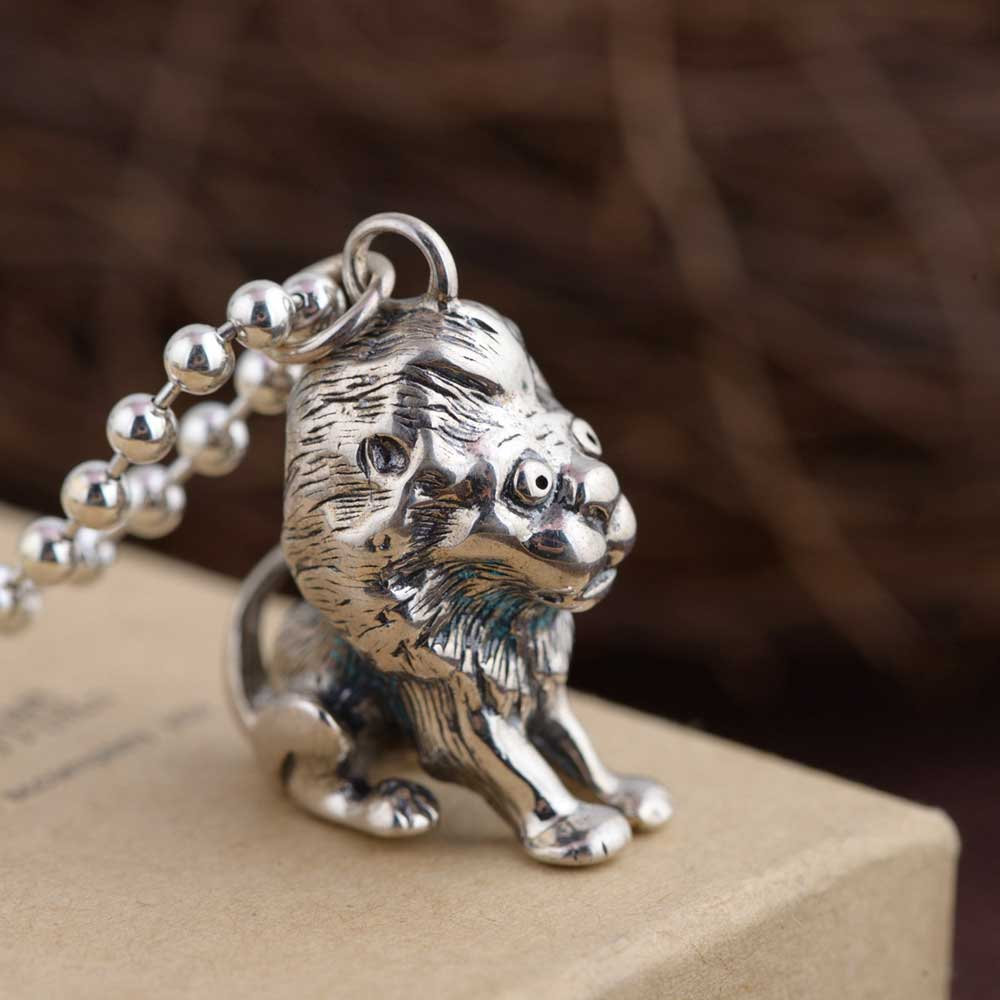 FNJ 925 Silver Lion Pendant Animal Punk New Fashion Pure Original S925 Thai Silver Pendants Women for Jewelry Making