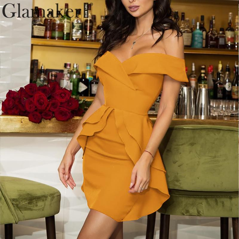 Glamaker Ruffles Off Shoulder Retro Sexy Mini Dress Women Summer Bodycon Short Dress Female Slash Neck Party Club Dress Vestidos