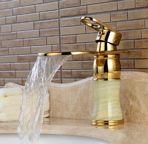 New Arrival Deck mounted brass and Jade waterfall faucet Bathroom Basin faucet Gold Sink Faucet Bath tap Basin Sink Faucet pastoralism and agriculture pennar basin india
