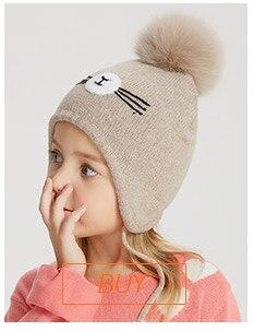 ENJOYFUR 2018 sombreros del bebé del invierno Real Fox Fur Pompom ... 421baee9904