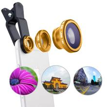 3 in 1 Universal Clip-on Mobile Phone Lens Fish Eye Wide Angle Macro Lens For Sm
