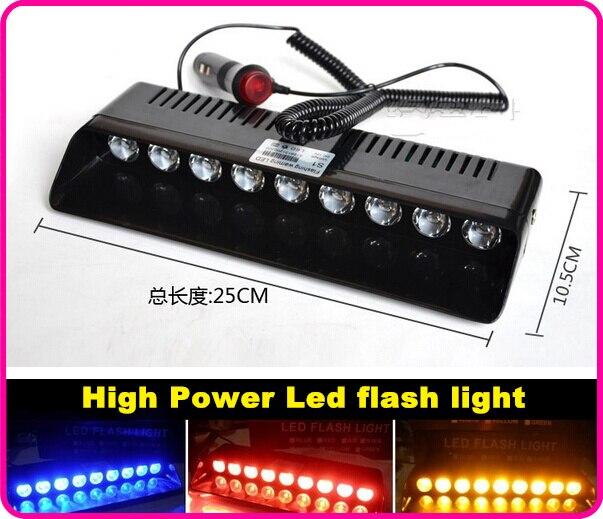Higher star DC12V 9W Led car Windshield dash warning light,strobe emergency light,police lights,11flash pattern