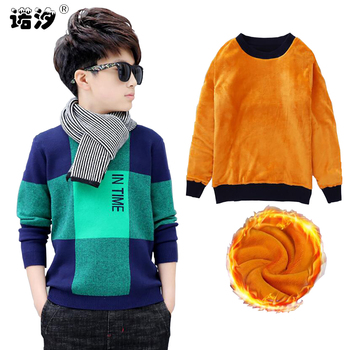 Boys winter velvet sweater kids Warm Pullovers plush inside Knitted sweaters Loose jacket 4-13T teenage plaid O-neck sweaters