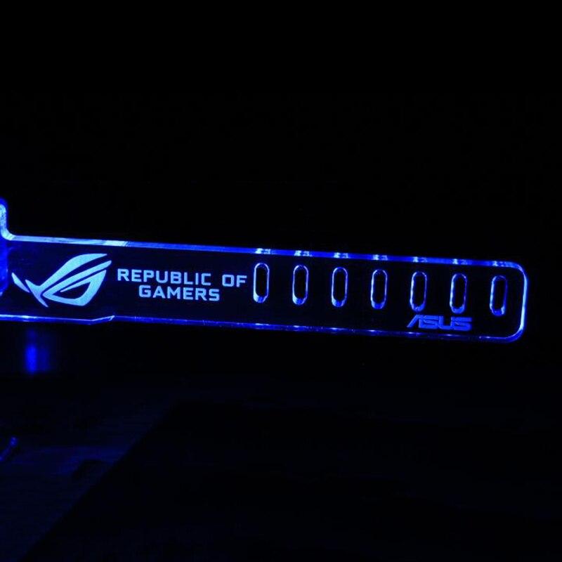 Bleu Pour RÉPUBLIQUE DE GAMERB SON LED Lumineux Ordinateur Principal Boîte Cartes Graphiques de Soutien Personnalisé Cadre Affichage Carte Composants Jack