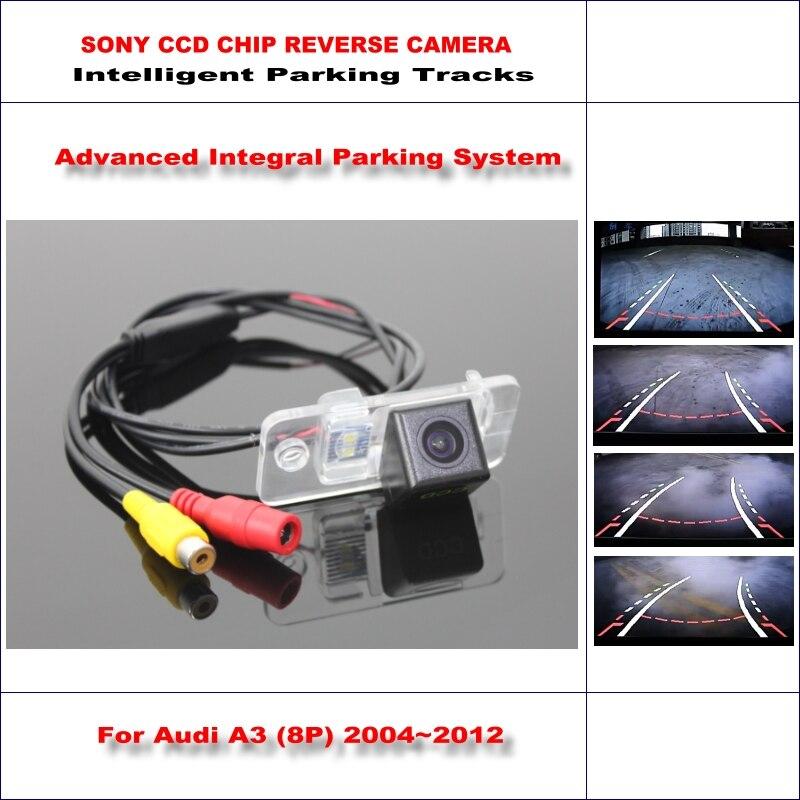 Inteligente Faixas de Estacionamento Câmera Traseira Do Carro Para Audi A3 2003 ~ 2012 de backup reversa/ntsc rca aux hd sony 580 tv linhas