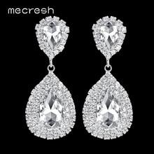Mecresh Silver Color Big Crystal Bridal Wedding Drop Earrings for Women Large Teardrop Dangle Earrings for Bride Party EH003