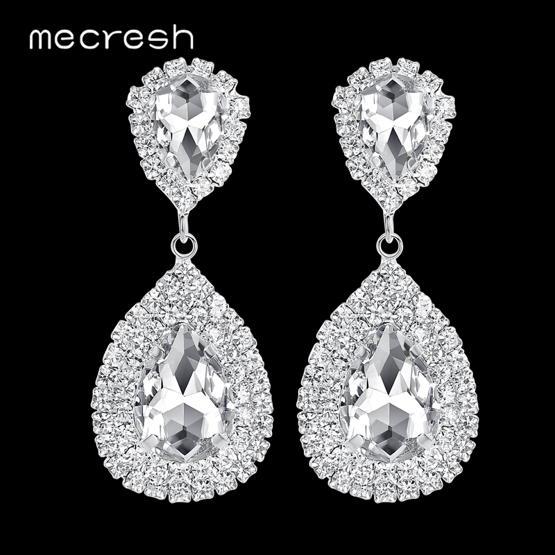 Mecresh Silver Color Big Crystal Earrings for Women Classic Large Teardrop Bridal Wedding Earrings Fashion Jewelry 2018 EH003