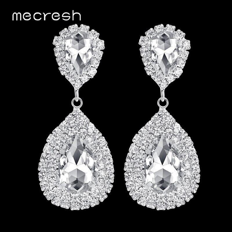 Mecresh серебро Цвет большие; Свадебная обувь для невесты с украшением из камней, свисающие серьги для женщин, серьги большие длинные серьги в ф...