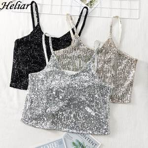 HELIAR Women Sexy Spaghetti Camis Female Sequined Silver Tank Tops Shining Hot Crop Top Night Club Bodycon Camisole Summer 2019