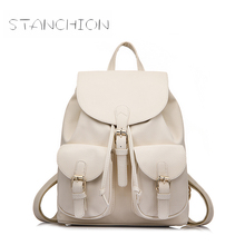 Backpack Faux Leather Women Daily Solid String Shoulder Bag With Two Solid Pocket For Teenage Girls School Backpack
