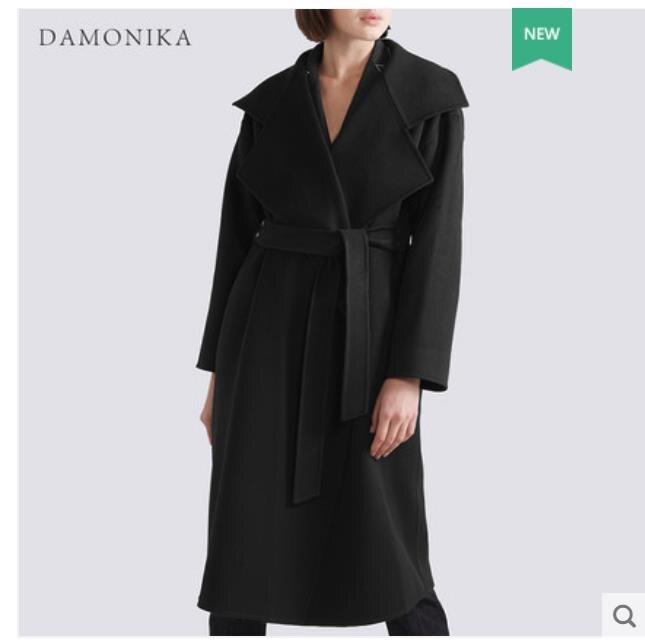 Double-sided cashmere sobretudo para as mulheres no novo 2018 cinto é também na altura do joelho preta fina sobretudo de lã para mulheres no outono e ganhar
