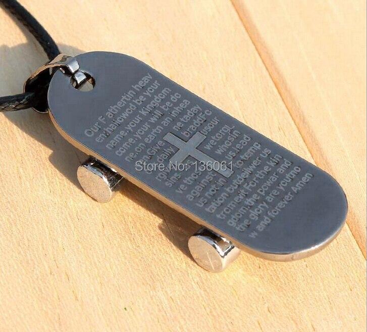 Brand Fashion Vintage Gun Black Titanium Steel Cross Skateboard Car Charms Collar Choker Necklace Pendant DIY Jewelry 10pcs Q523