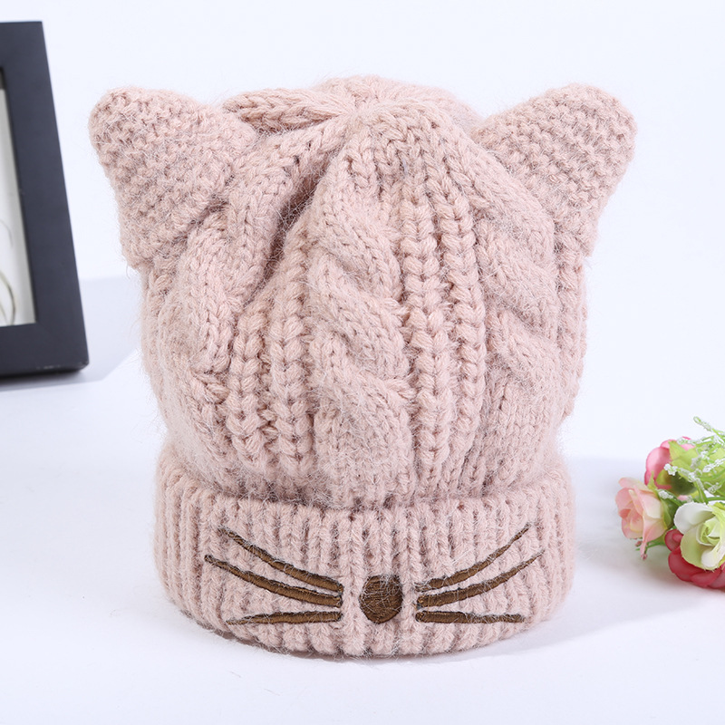 Cute Newborn Photography Thicken Fleece Cartoon Cat Baby Winter Hat with Ears Plush Lining Warm Girls Beanie Baby Boy Cap 2-6Y ...