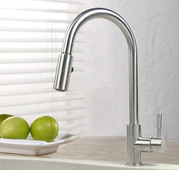 Free shipping 304 stainless steel Hot and Cold Device nickel brushed pull put kitchen &bathroom basin sink Mixer Tap Faucet 380 super high quality 304 stainless steel hot and cold no lead brushed basin safe sink kitchen faucet with german technology
