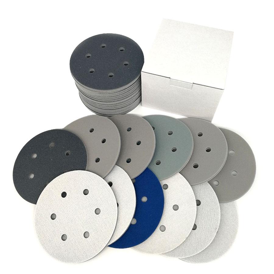 6 Inch 150mm 6 Hole Dry Wet Sponge Sandpaper Flocking Disc Sanding Paper Abrasive Tools Accessories 300-3000 Grit