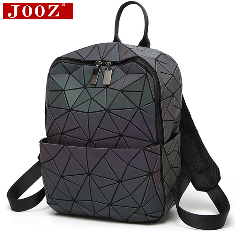 JOOZ holograma geométrico diamante a cuadros mochila luminosa viaje hombres y mujeres mochila pvc láser holográfico sac a dos