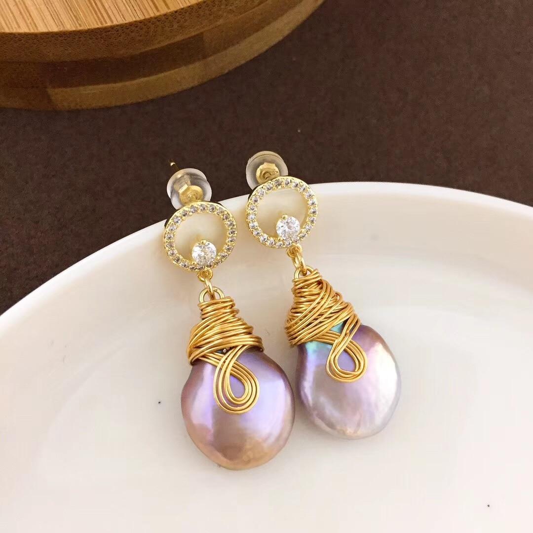 À la mode nouveau 14 K fil d'or bouton perle eardrop atmosphère simple S925 argent sterling earpin 68 YEAQ