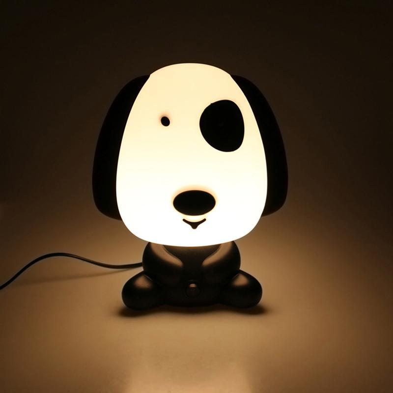 Милая собака мультфильм животных Night Light Симпатичные настольная лампа дети спальный номер ночника (черный с нами Plug)