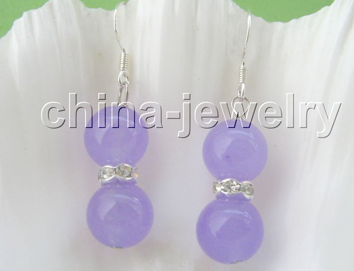 Gorgeous 10 mm natural round purple crystal earrings free shipment