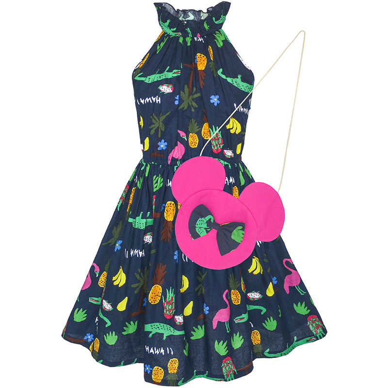 Sunny Fashion платья для девочек платье вишня Фрукты Распечатать Хлопок С Милый Сумка Синий